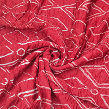 Load image into Gallery viewer, Red Base Bandhani On Cotton Chanderi Kurta Fabric 2.5Mtr.