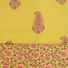 Load image into Gallery viewer, Mustard Yellow Cotton Hand Block Printed Top & Bottom-2.5 mtr each