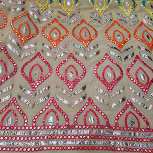 Cream Base Multi Color Thread  & Faux Mirror Embroidery On Georgette Fabric.