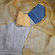 Load image into Gallery viewer, Indigo Blue &Yellow Kota  Doriya Unstiched Suit Set with Dupatta