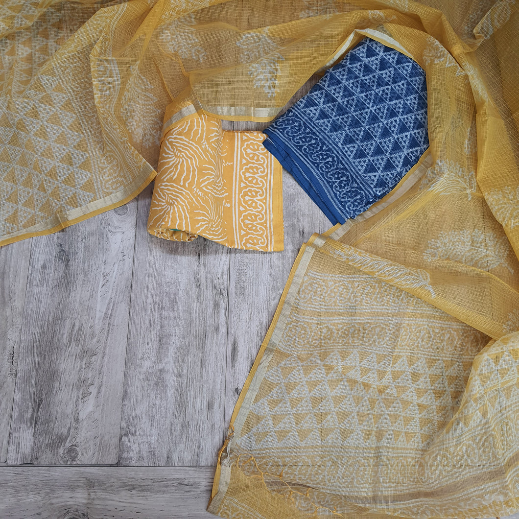 Indigo Blue &Yellow Kota  Doriya Unstiched Suit Set with Dupatta