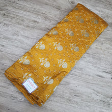 Load image into Gallery viewer, Mustard Gold Zari with Bandhani on Pure Katan Silk Fabric