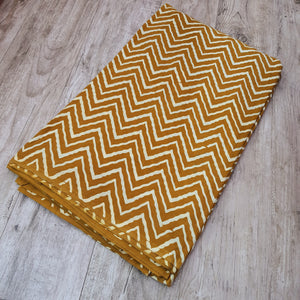 Mustard Base Cream Zig Zag Ajrakh Hand Block Printed Pure Cotton Natural Dyed Fabric