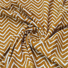 Load image into Gallery viewer, Mustard Base Cream Zig Zag Ajrakh Hand Block Printed Pure Cotton Natural Dyed Fabric