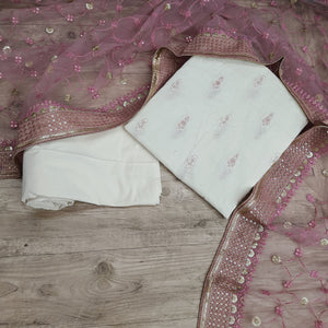 Off White Base On Kora Cotton Embroidery With Cotton Thread Embroidered Net Dupatta Suit Set