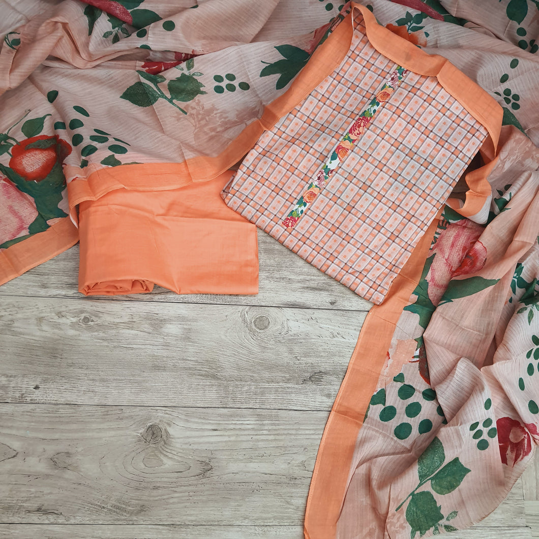 Orange Base  On  Muslin Cotton Embroidery With Digital Print Dupatta Suit Set