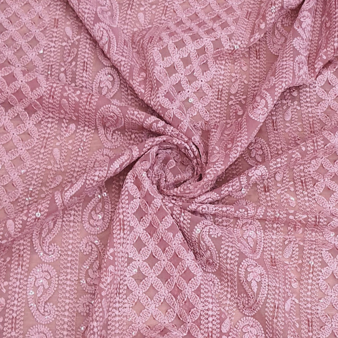 Onion Pink Georgette Machine Chikankari With Water Sequence Embroidered Fabric
