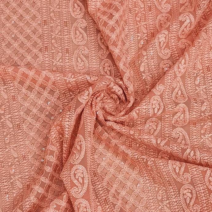 Rust Orange Georgette Machine Chikankari With Water Sequence Embroidered Fabric