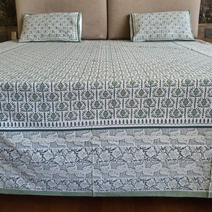 Pista Green  & White Pure Cotton Handloom Block Printed Bedsheet with 2 Pillow Covers