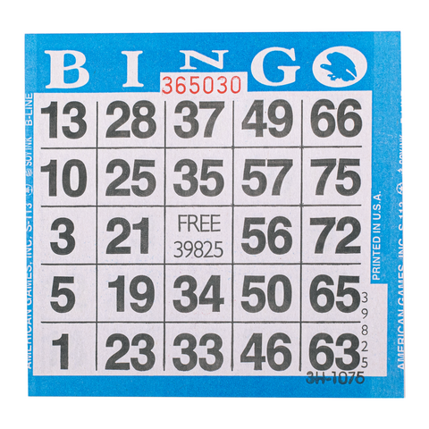 1 on Blue Bingo Paper Cards - 500 cards per pack - Jackpot Bingo Supplies