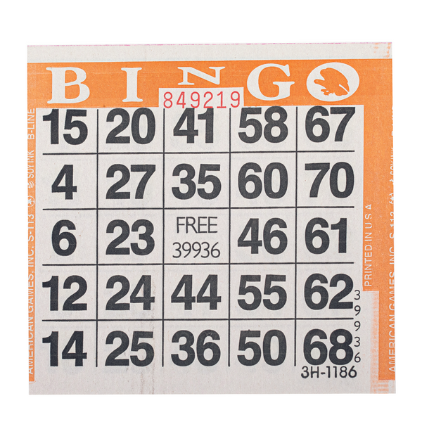 1 on Orange Bingo Paper Cards - 500 cards per pack - Jackpot Bingo Supplies