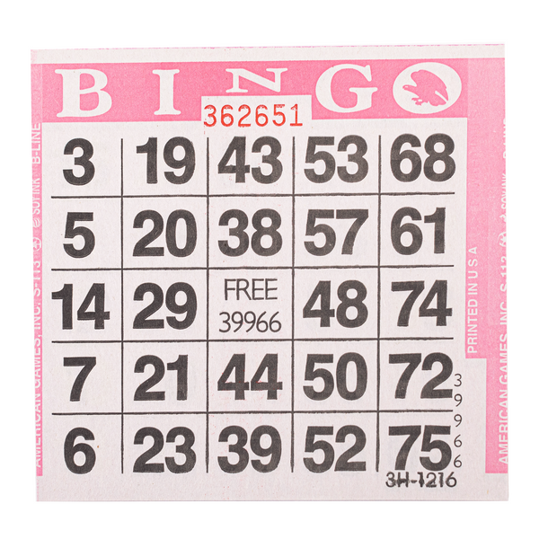1 on Pink Bingo Paper Cards - 500 cards per pack - Jackpot Bingo Supplies