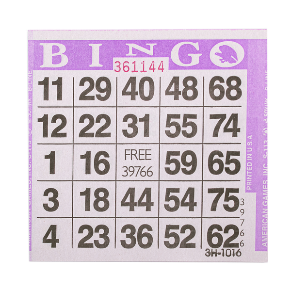 1 on Purple Bingo Paper Cards - 500 cards per pack - Jackpot Bingo Supplies