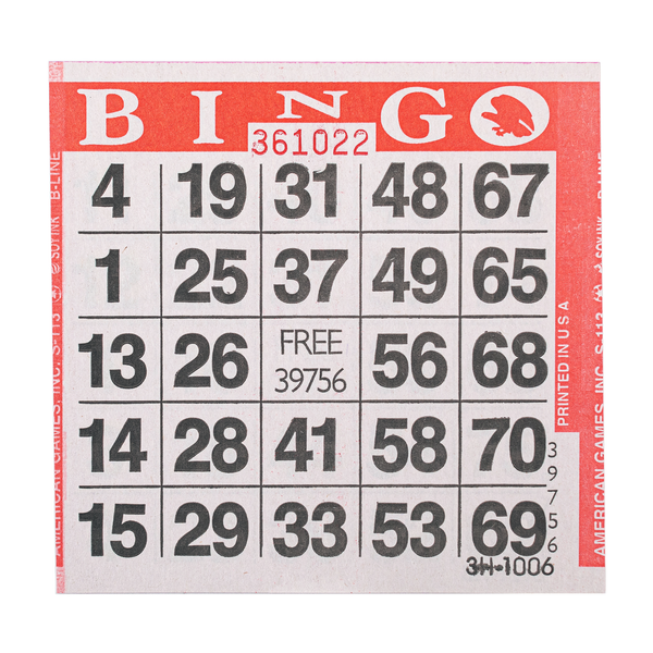 1 on Red Bingo Paper Cards - 500 cards per pack - Jackpot Bingo Supplies