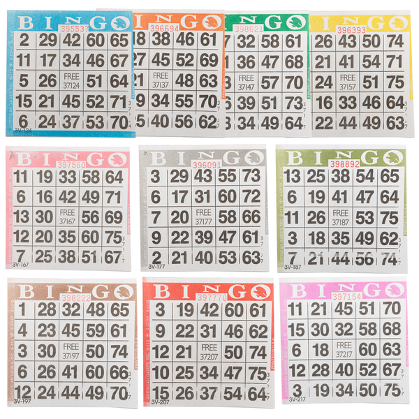 Bingo Paper Cards - 1 card - 10 sheets - 100 books - Jackpot Bingo Supplies