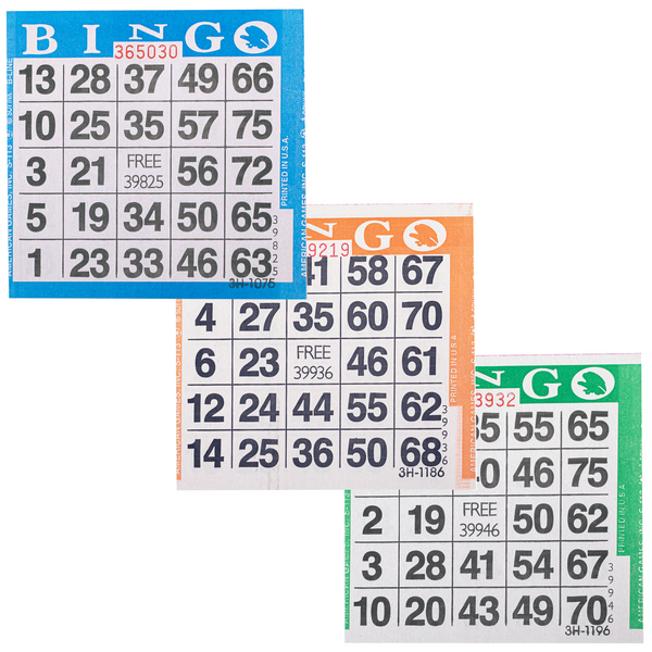 Bingo Paper Cards - 1 card - 3 sheets - 100 books - Jackpot Bingo Supplies