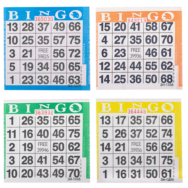 Bingo Paper Cards - 1 card - 4 sheets - 100 books - Jackpot Bingo Supplies