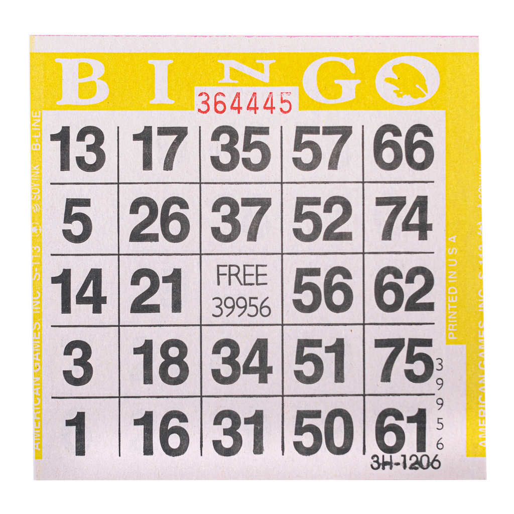 1 on Yellow Bingo Paper Cards - 500 cards per pack - Jackpot Bingo Supplies