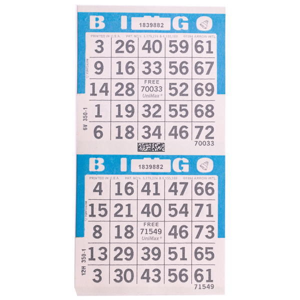 2 on Vertical Blue Bingo Paper Cards - 750 sheets - Jackpot Bingo Supplies