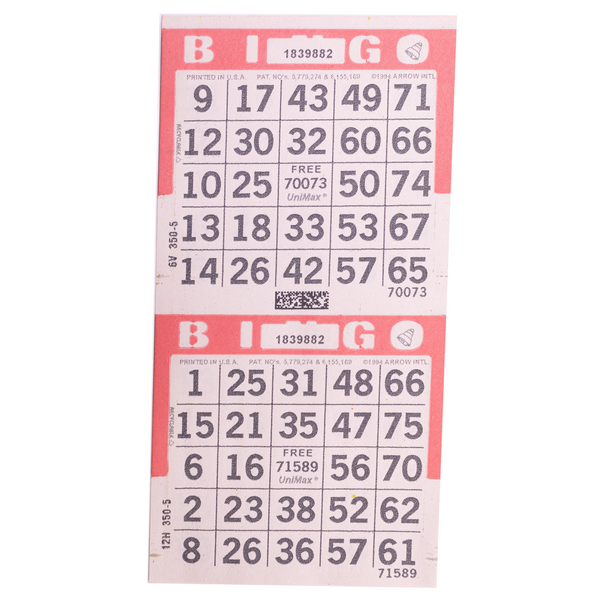 2 on Vertical Pink Bingo Paper Cards - 750 sheets - Jackpot Bingo Supplies