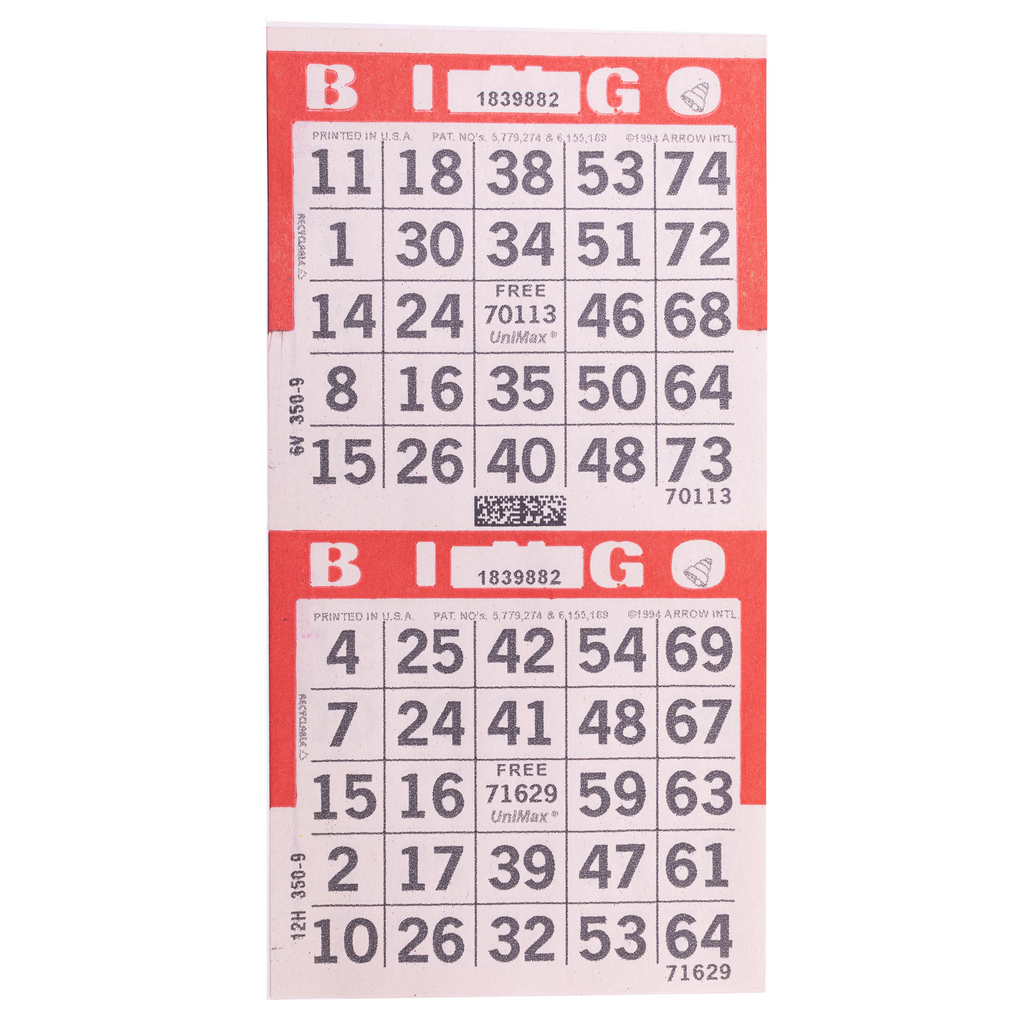 2 on Vertical Red Bingo Paper Cards - 750 sheets - Jackpot Bingo Supplies