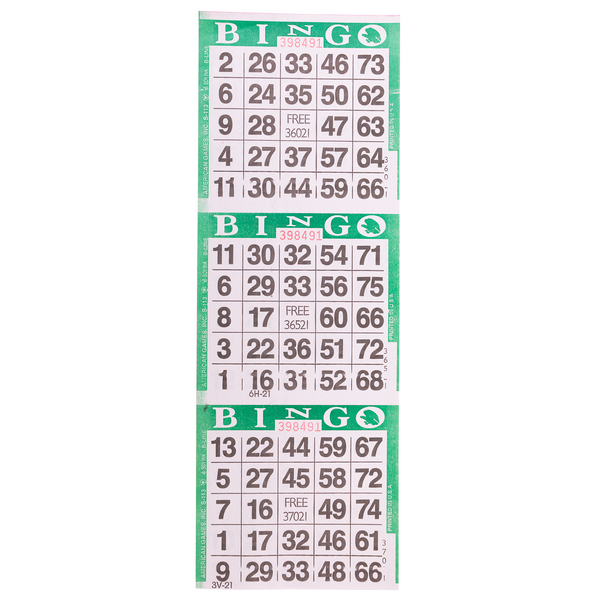 3 on Green Bingo Paper Cards - 1000 sheets - Jackpot Bingo Supplies