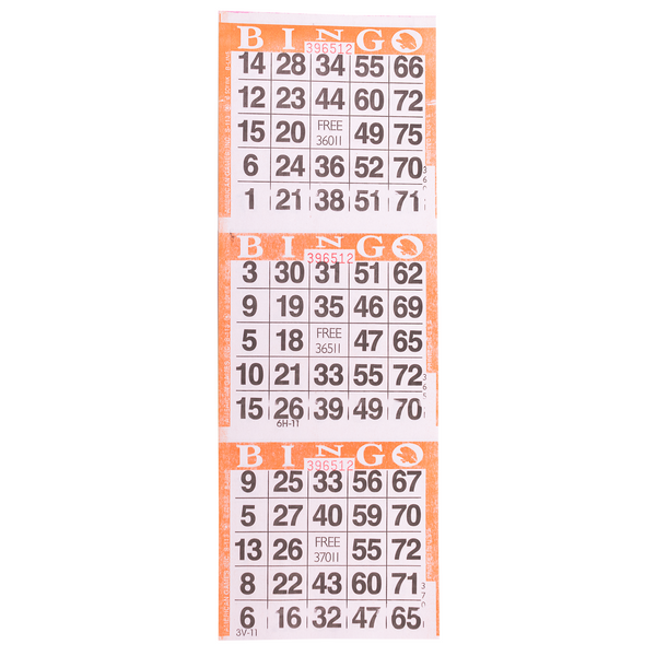 3 on Orange Bingo Paper Cards - 1000 sheets - Jackpot Bingo Supplies