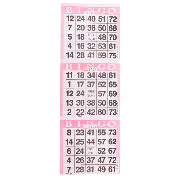 3 on Pink Bingo Paper Cards - 1000 sheets - Jackpot Bingo Supplies
