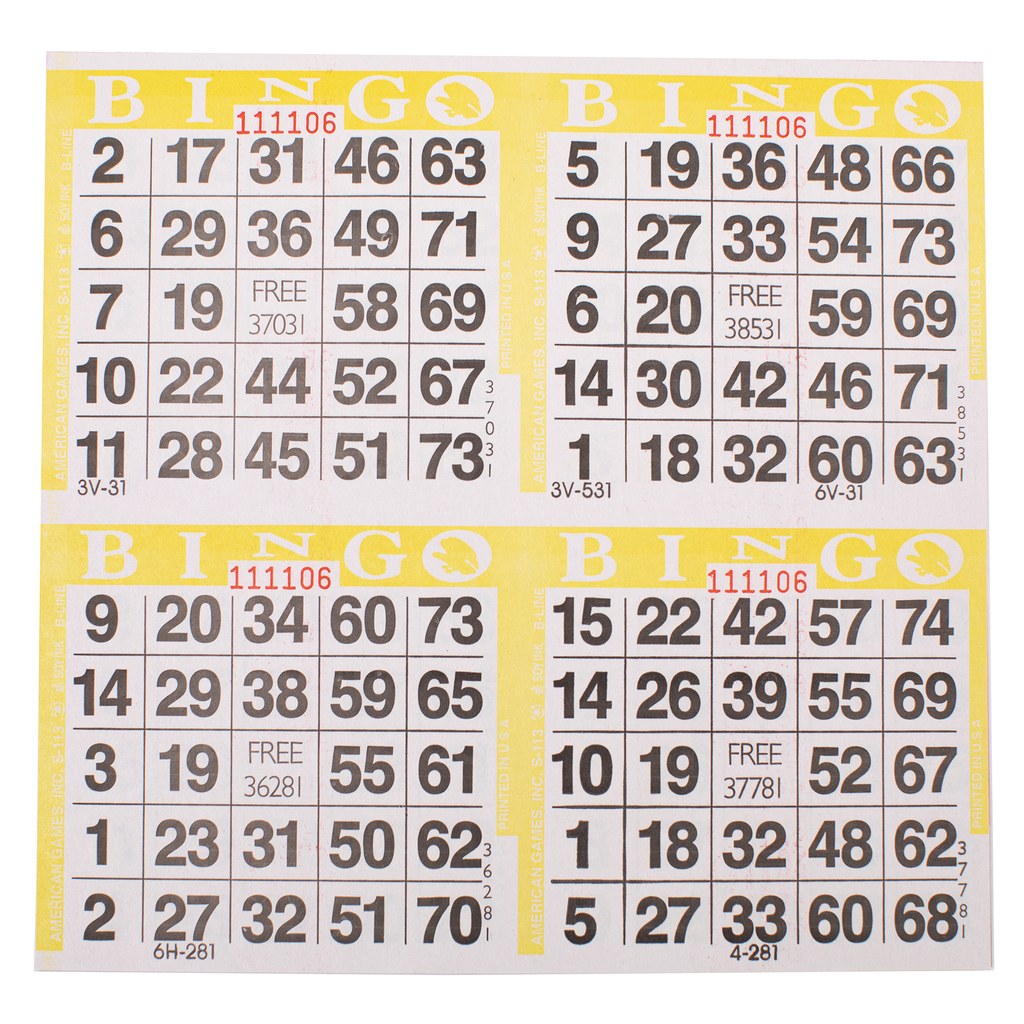 4 on Yellow Bingo Paper Cards - 750 sheets - Jackpot Bingo Supplies