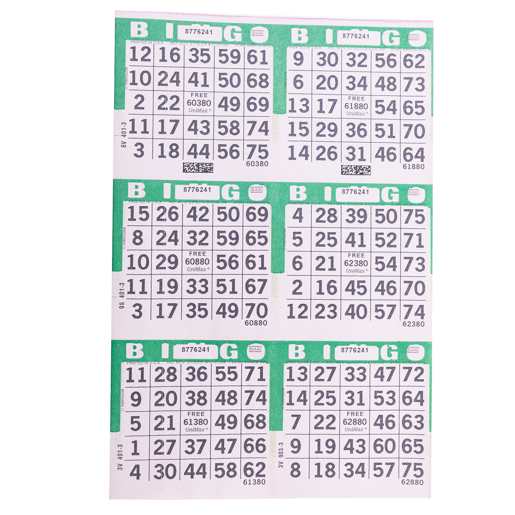 6 on Green Bingo Paper Cards - 500 sheets - Jackpot Bingo Supplies