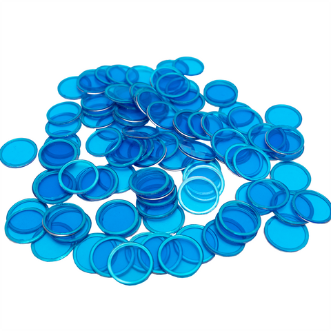 Magnetic Bingo Chips - Blue - 100 Bingo Chips - 3/4 inch size - Bingo Accessories - Jackpot Bingo Supplies