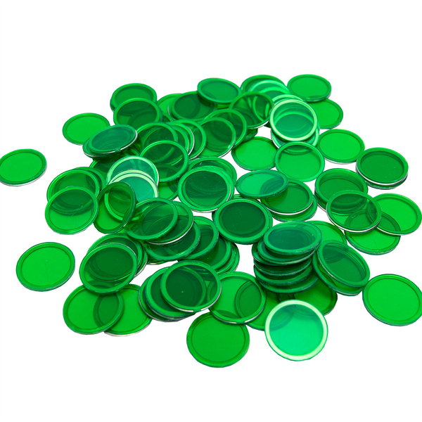 Magnetic Bingo Chips - Green - 100 Bingo Chips - 3/4 inch size - Bingo Accessories - Jackpot Bingo Supplies