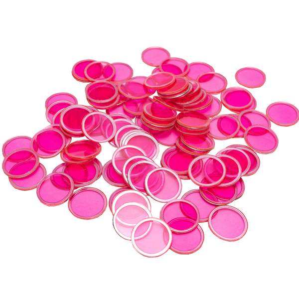Magnetic Bingo Chips - Pink - 100 Bingo Chips - 3/4 inch size - Bingo Accessories - Jackpot Bingo Supplies