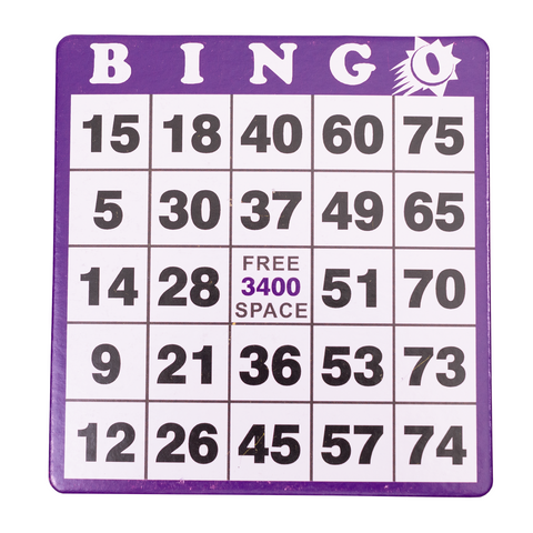 Hard Bingo Cards - Purple - 100 per pack - Jackpot Bingo Supplies