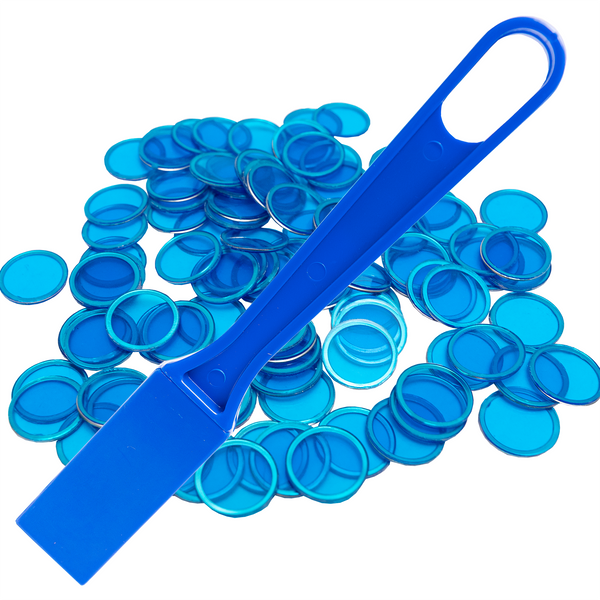 Magnetic Bingo Wand with 100 Bingo Chips - Blue - Bingo Accessories - Jackpot Bingo Supplies