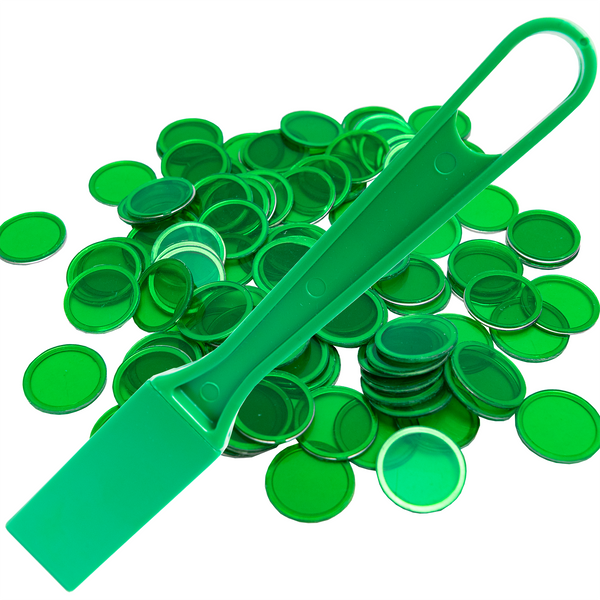 Magnetic Bingo Wand with 100 Bingo Chips - Green - Bingo Accessories - Jackpot Bingo Supplies