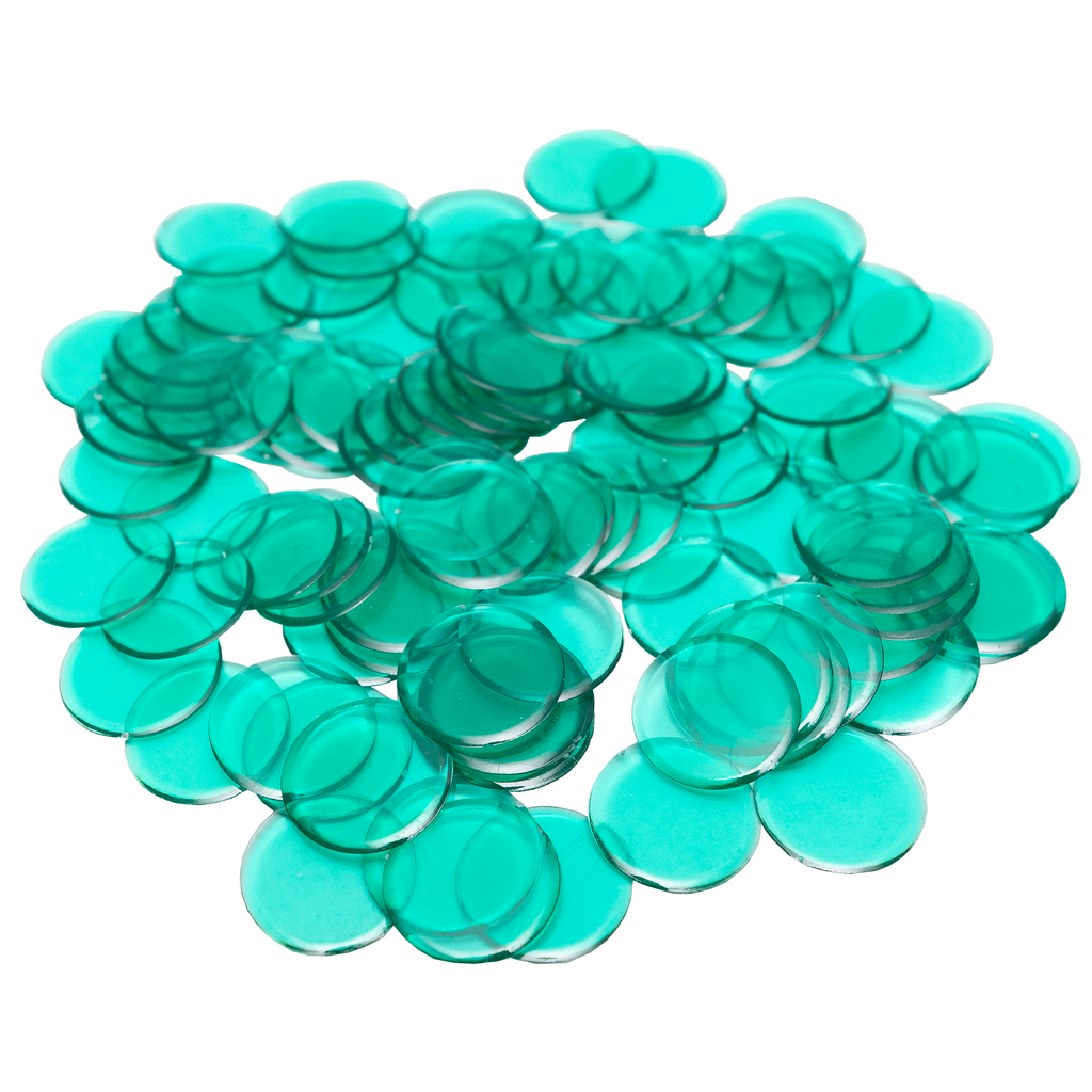 Plastic Non-Magnetic Bingo Chips - Green - 100 Bingo Chips - 7/8 inch size - Bingo Accessories - Jackpot Bingo Supplies