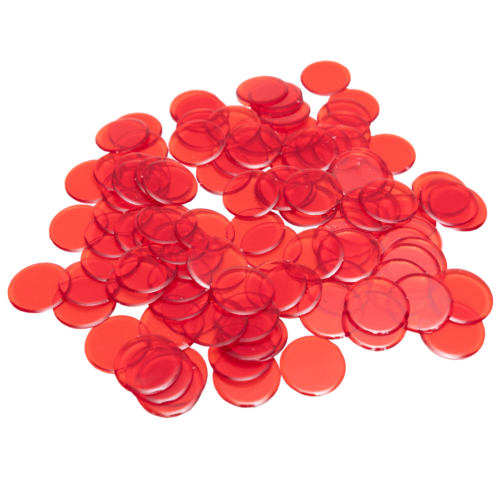 Plastic Non-Magnetic Bingo Chips - Red - 100 Bingo Chips - 7/8 inch size - Bingo Accessories - Jackpot Bingo Supplies