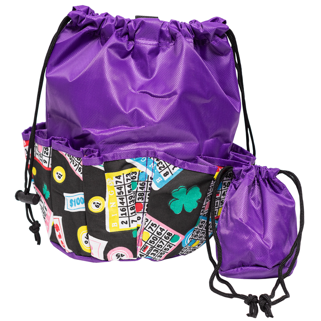 Bingo Bag - Lucky Print - Purple - Bingo Accessories - Jackpot Bingo Supplies