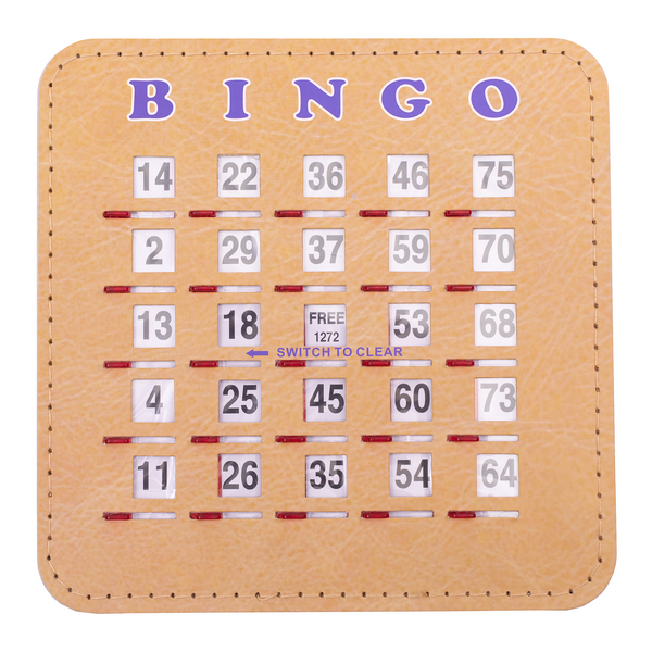 Bingo Shutter Card - Woodgrain Quick Clear - Jackpot Bingo Supplies