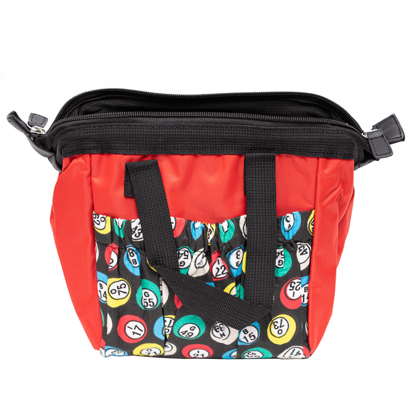 Bingo Bag with Zipper - Red - 6 Pockets - Bingo Accessories - Jackpot Bingo Supplies
