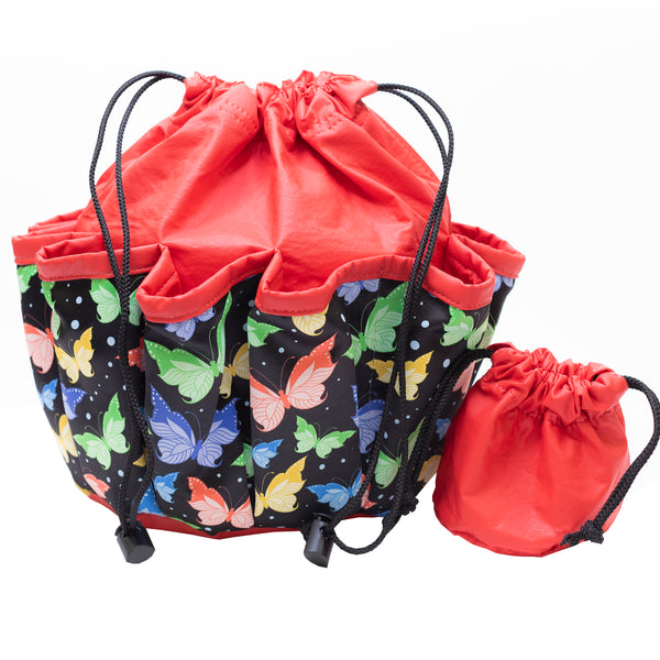 Bingo Bag - Butterfly Design - Red - 10 Pockets - Bingo Accessories - Jackpot Bingo Supplies