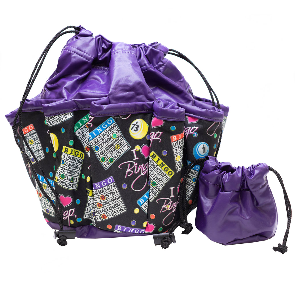 Bingo Bag - I Love Bingo Design - Purple - 10 Pockets - Bingo Accessories - Jackpot Bingo Supplies