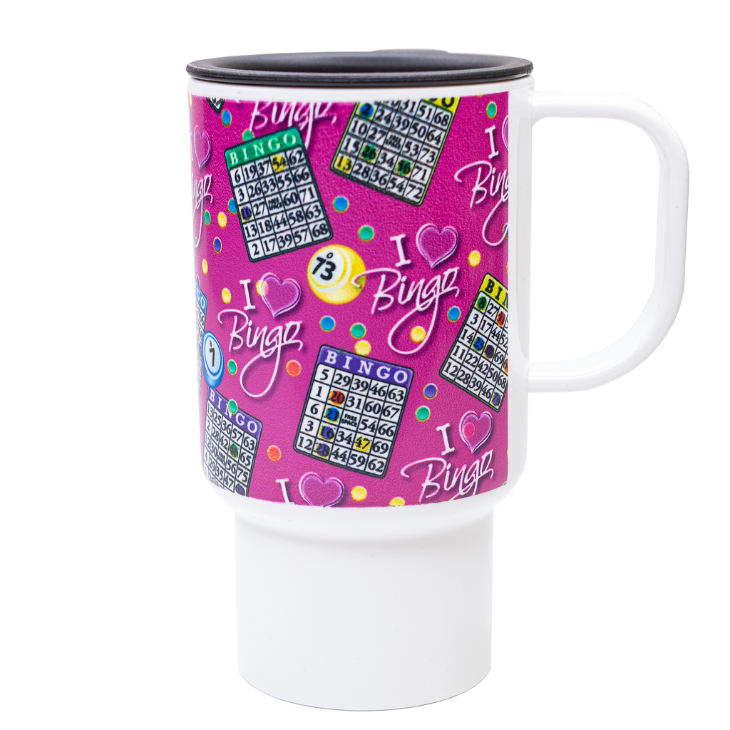 Bingo Travel Mug - I Love Bingo Design - Pink - Bingo Accessories - Jackpot Bingo Supplies