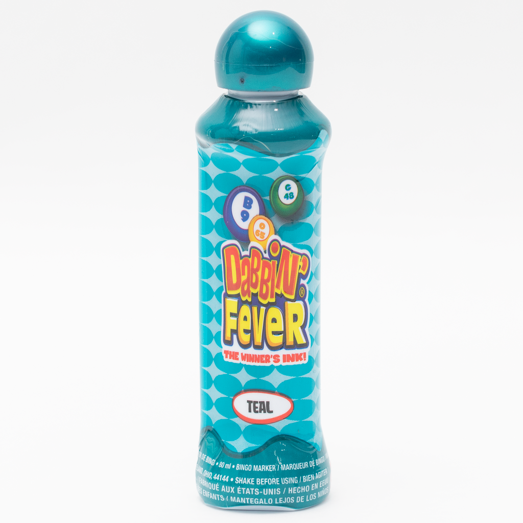 Dabbin' Fever Bingo Daubers - Teal Ink Markers - 3 ounce size bottle - Jackpot Bingo Supplies