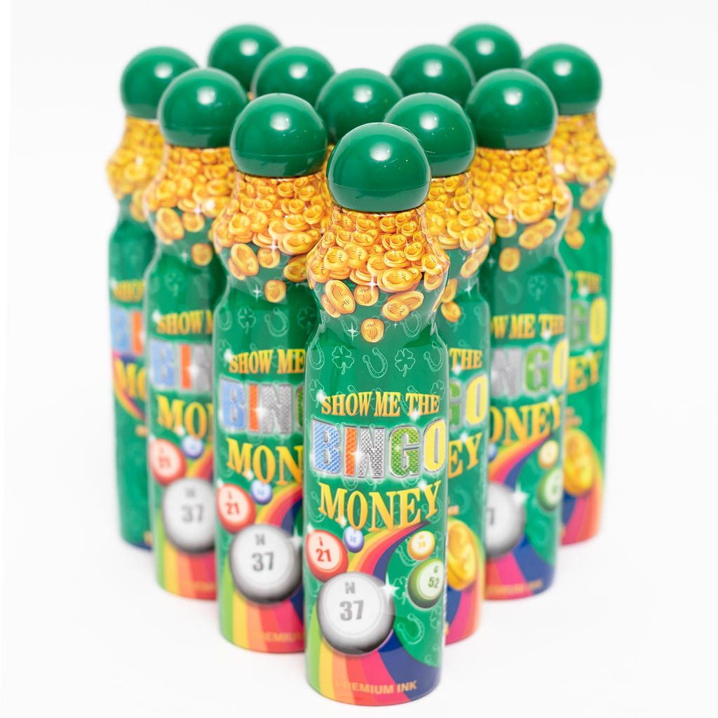 Show Me The Bingo Money Daubers - Green Ink Marker - 12 per pack - 4 ounce size bottle - Jackpot Bingo Supplies