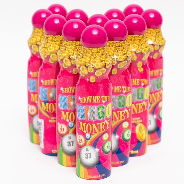 Show Me The Bingo Money Daubers - Magenta Ink Marker - 12 per pack - 4 ounce size bottle - Jackpot Bingo Supplies