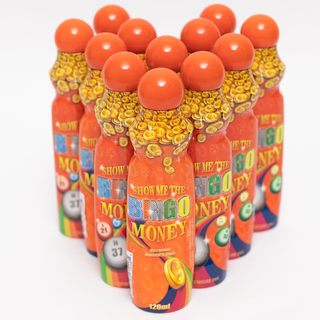 Show Me The Bingo Money Daubers - Orange Ink Marker- 12 per pack - 4 ounce size bottle - Jackpot Bingo Supplies