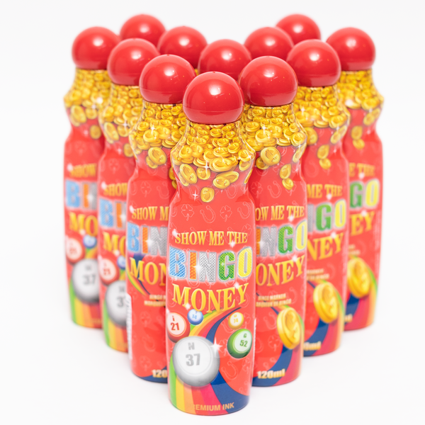 Show Me The Bingo Money Daubers - Red Ink Marker - 12 per pack - 4 ounce size bottle - Jackpot Bingo Supplies