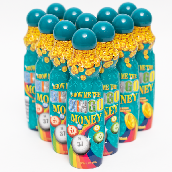Show Me The Bingo Money Daubers - Teal Ink Marker - 12 per pack - 4 ounce size bottle - Jackpot Bingo Supplies
